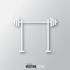 Barbell icon in white style with shadow isolated on grey background.