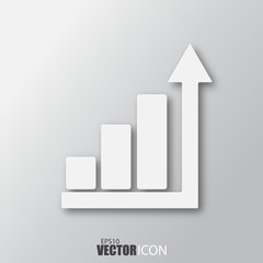 Business bars icon in white style with shadow isolated on grey background.