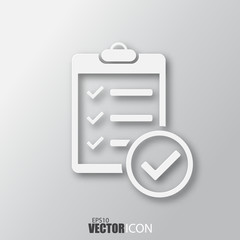 Check list icon in white style with shadow isolated on grey background.