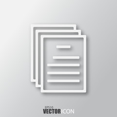 Documents icon in white style with shadow isolated on grey background.