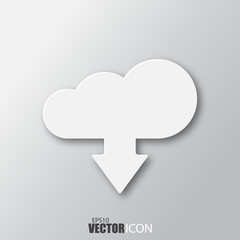 Download from cloud icon in white style with shadow isolated on grey background.