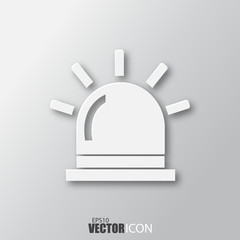 Flasher icon in white style with shadow isolated on grey background.
