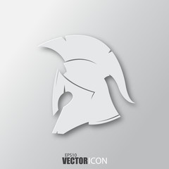 Spartan helmet icon in white style with shadow isolated on grey background.