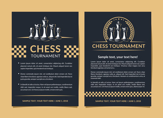 Chess flyer design - vector illustration, leaflet, poster on a dark background