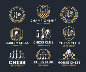 Chess logo set - vector illustration, emblem design on a dark background