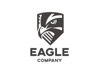 Head of the eagle on the shield - black logo, mark, emblem on a white background