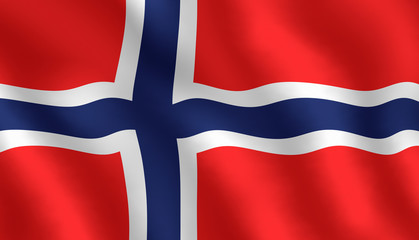 Illustraion of flying Norwegian flag