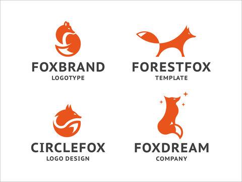 Collection of orange fox logos, emblem, illustration in a minimalist style