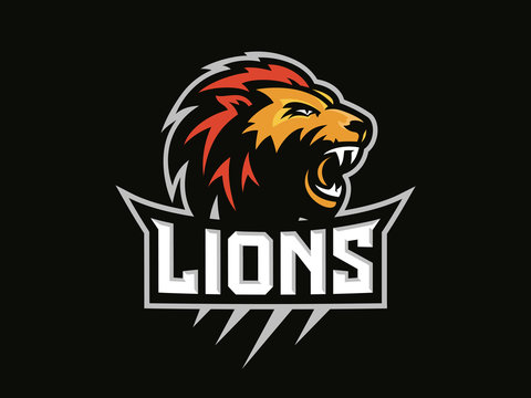 Lions head - sport logo, emblem on a dark background