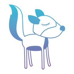 female wolf cartoon with closed eyes expression in degraded blue to purple color silhouette vector illustration