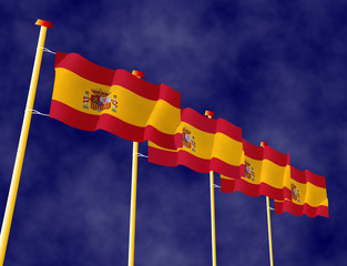 Spanish Flags on the flagpoles
