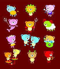 cute 12 teddy bear horoscope vector collection