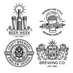 Set beer logo black and white - vector illustration, emblem brewery design modern line style.