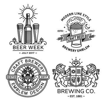 Set beer logo black and white - vector illustration, emblem brewery design modern line style.