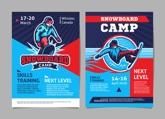 Snowboard camp posters, flyer - template vector design