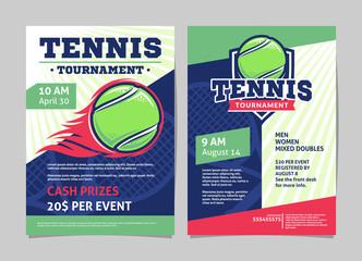 Fototapeta Tennis tournament posters, flyer with tennis ball - template vector design obraz