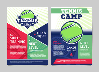 Tennis camp posters, flyer with tennis ball - template vector design