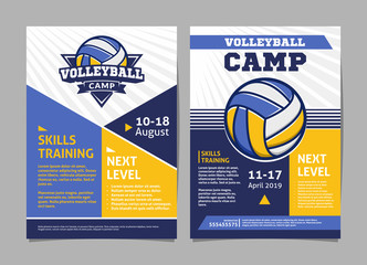 Volleyball camp posters, flyer with volleyball ball - template vector design
