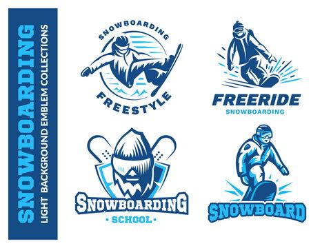 Snowboard logo set - vector illustration, emblem design on white background