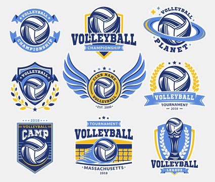 Volleyball logo, emblem set collections, designs templates on a light background