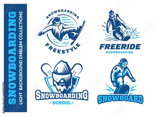 cf1ba564eda9 Snowboard logo set - vector illustration