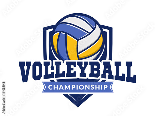 volleyball championship logo emblem icons designs templates with