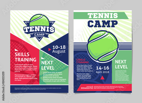 Tennis Camp Posters Flyer With Tennis Ball Template Vector Design