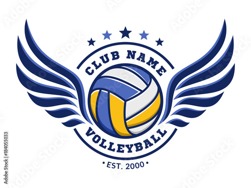 volleyball club logo emblem icons designs templates with