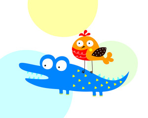 cute crocodile and bird cartoon vector