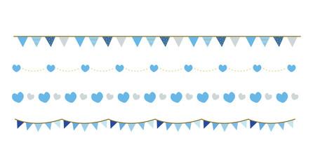 青のかわいい罫線,飾り罫(ハート・ガーランド/ホワイトデー)