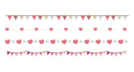 ピンクのかわいい罫線,飾り罫(ハート・ガーランド/バレンタインデー)