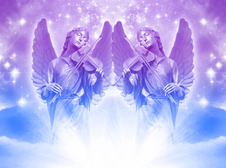 Wall Mural - angel archangel  statues over mystical sky with divine light and stars