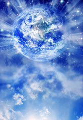 Wall Mural - Earth with rays of light and copy space like a spiritual concept of love and peace background