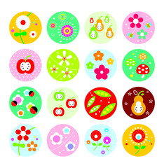 cute spring flower pattern vector collection