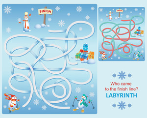 Snowmen on skis. Labyrinth. Who came to the finish line? Design of educational game. Snowmen in the style of cartoon characters.