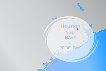"Vector illustration of Houston on the map, text ""Houston you have a problems"""