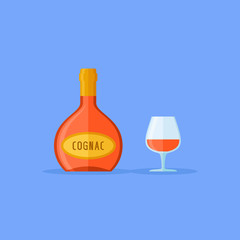 Bottle and glass of cognac isolated on blue background. Flat style icon. Vector illustration.