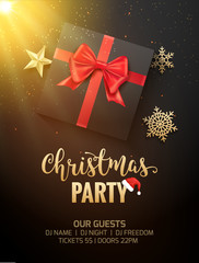 Christmas party poster invitation decoration design gift box. Xmas holiday template background with snowflakes