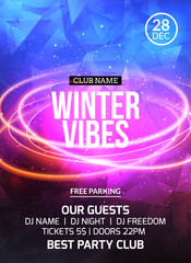 2018 new year winter dance party celebration flyer design template. Holiday invitation party poster card for music event in night club