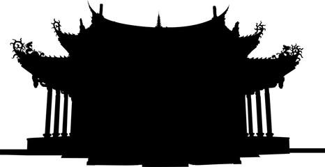 東南アジアのお寺のシルエット