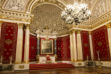 The Winter Palace, Petrovsky or small throne room interior. Russia