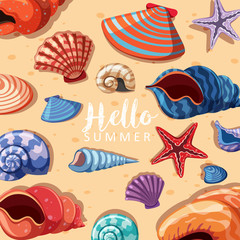 Summer theme background with seashells