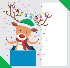 Banner design with cute reindeer