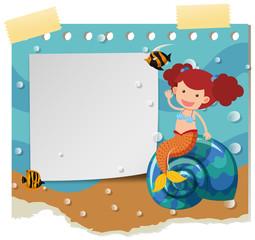 Border template with cute mermaid