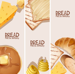 Bread fresh bakery background design