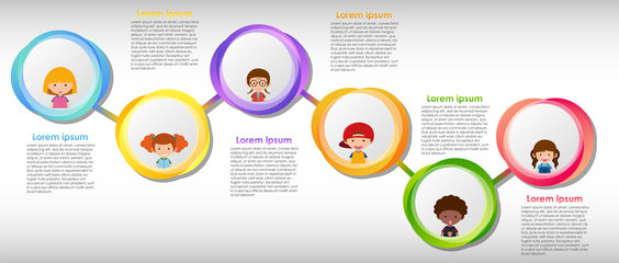 Infographic design with many children