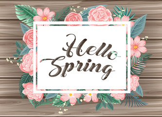Wooden board with word hello Spring