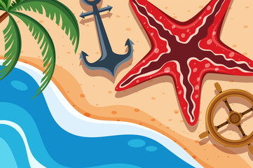 Background scene with starfish and anchor