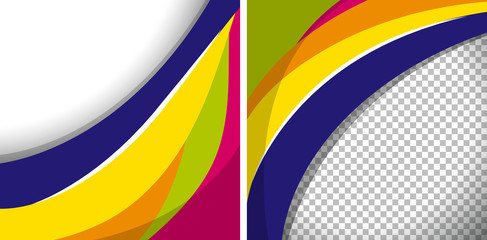 Two backgrounds with colorful wavy lines