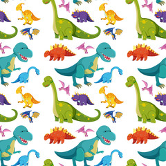 Seamless background with many dinosaurs